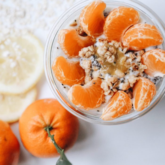 Soy yogurt with chia, orange and crunchy cereals
