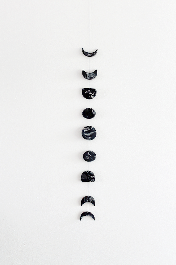 Crafts to Make - DIY Marble Moon Phase Wall Hanging