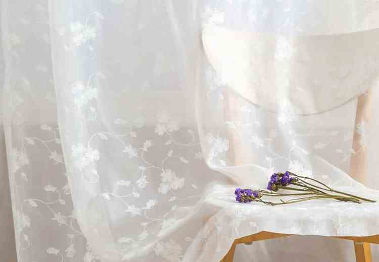 Sheer White Floral Embroidered Curtains