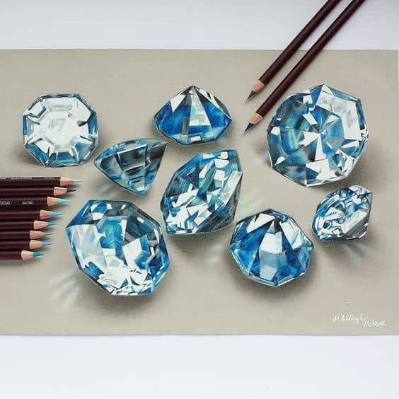Diamond Realistic Drawing - Amazing Drawings that Look 3d