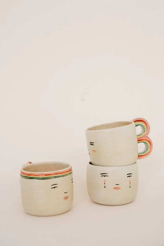 Ceramic Cup with Faces