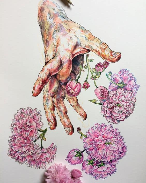 Amazing Drawing - Hand and Flowers