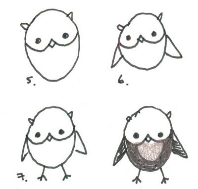 Simple Easy Owl Animal Drawing Idea