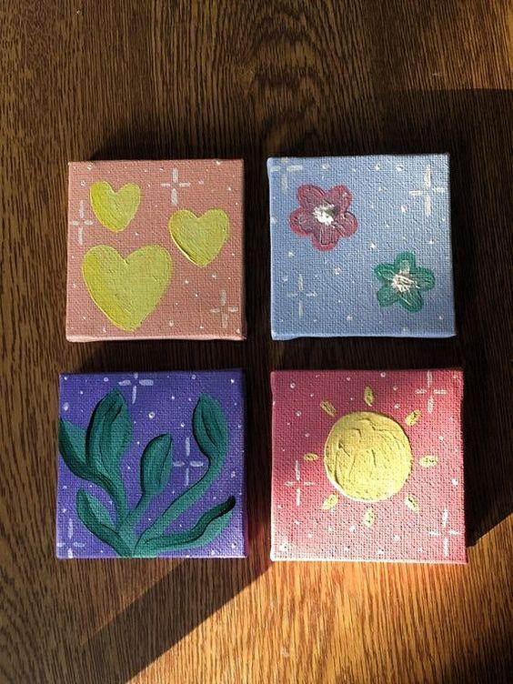 DIY easy mini canvas painting ideas
