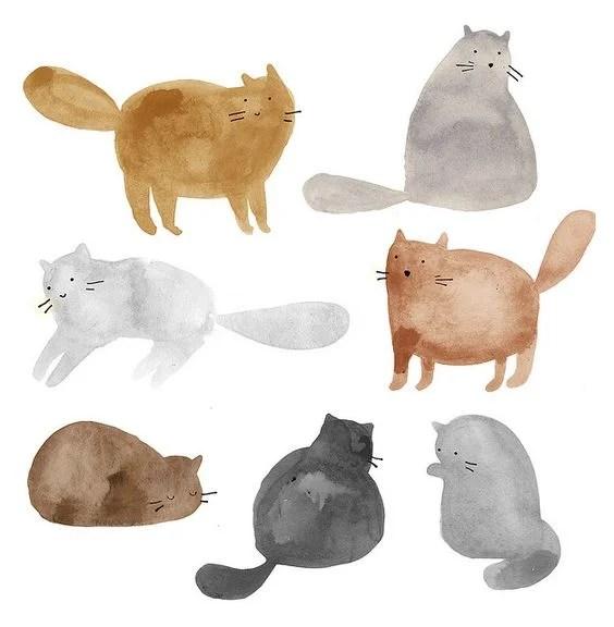 Easy Simple Watercolor Art Cat Painting