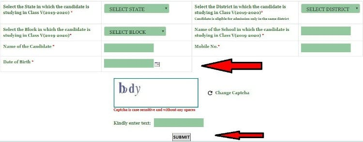Fill Your Navodaya Vidyalaya Online Application Form Class 6