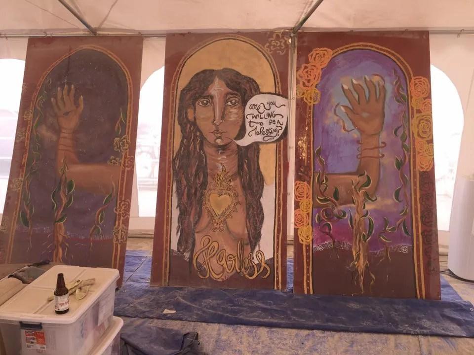 Shilo shiv mural in process
