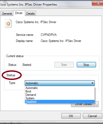 disable a device driver devmgmt