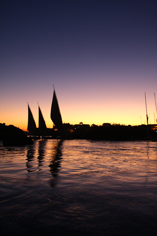 Traditional Felucca sailboats on the Southern Nile River