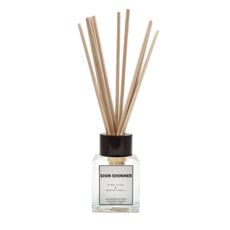 reed diffuser shim shimmer luxury scented candles pink fizz and grapefruit handmade in england