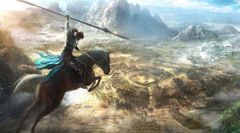 Dynasty Warriors 9 header image: man on horseback holding a lance, overlooking a big city in the distance