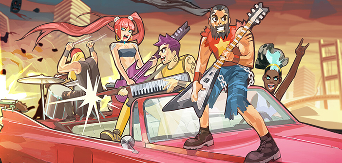 Key art for Double Kick Heroes, showing a group of musicians standing on a car wielding instruments against an apocalyptic-looking backdrop