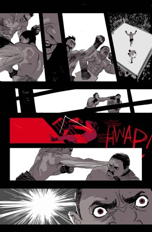 A page from Kill a Man, showing two men fighting in a ring (no words)