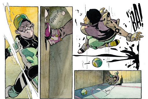 A snippet from Aster of Pan, showing two people playing dodgeball (no text).