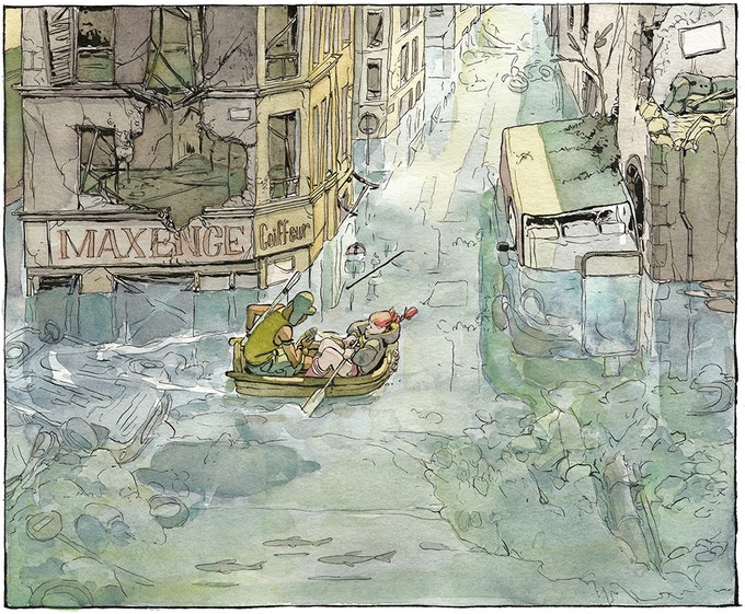 A snippet from Aster of Pan, showing two people on a boat exploring the flooded ruins of Paris (no text).