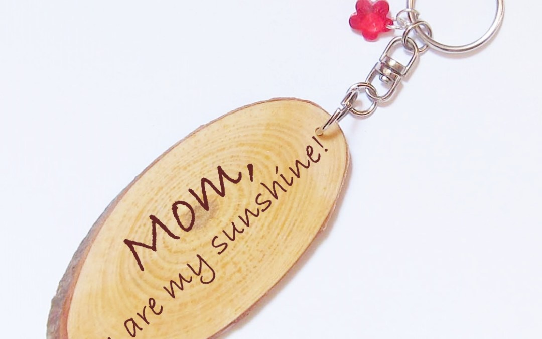 2018 Giveaway (3) – Personalized Wood Key Ring with Charm + 30% off coupon for Mother's Day