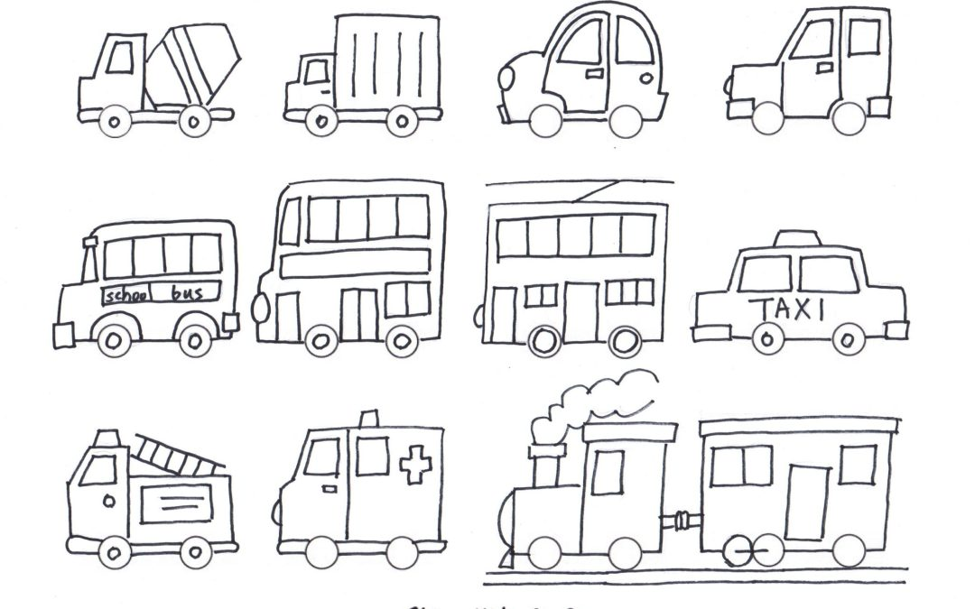 Simple Draw Vehicles / Cars – Coloring for kids