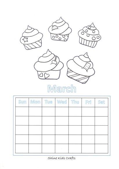 printable coloring page calendar cupcake
