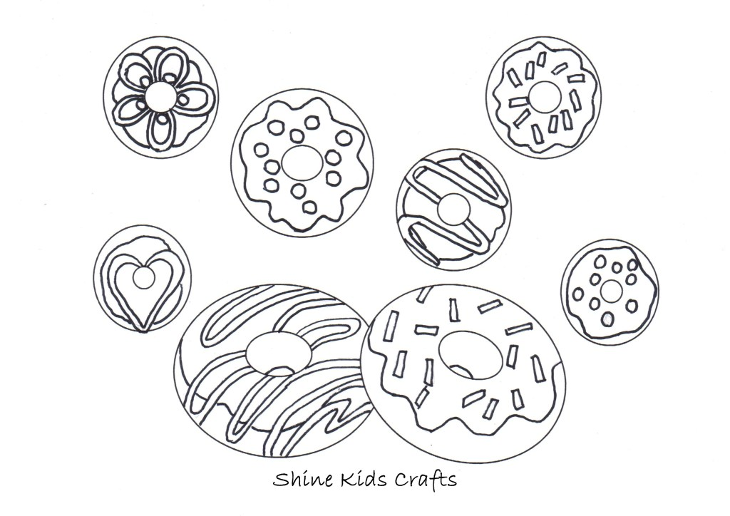 Free Printable Donut Coloring / Calendar - Party Food (Donuts)