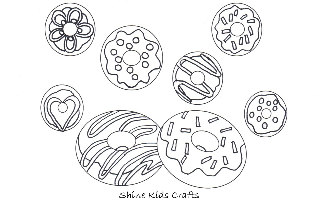 Free Printable Coloring Page / Calendar – Party Food (Donuts)
