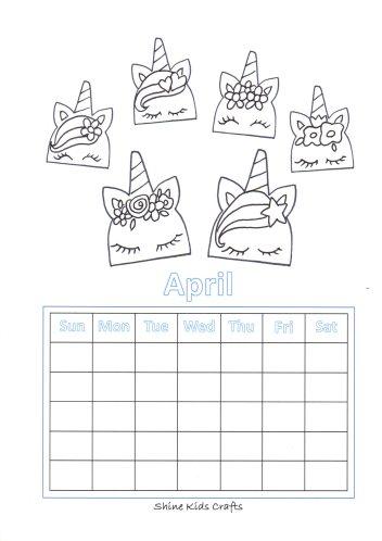 Free Printable Unihorn Coloring / Calendar - Party Food (Unihorn Cookies)
