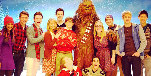 """""""Glee"""" Cast Geeks Out Over Chewbacca (Photos)"""