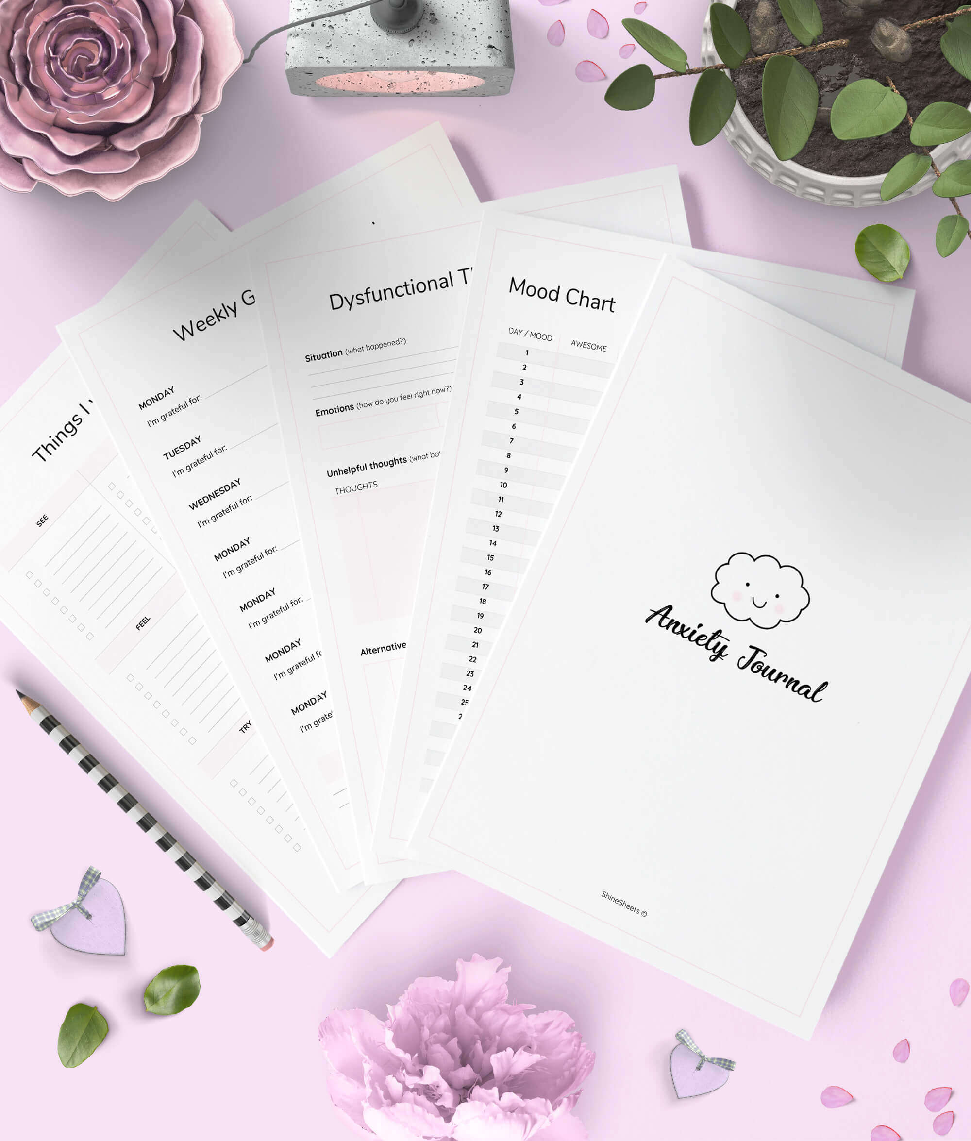 Anxiety Journal Printable 9 Pages