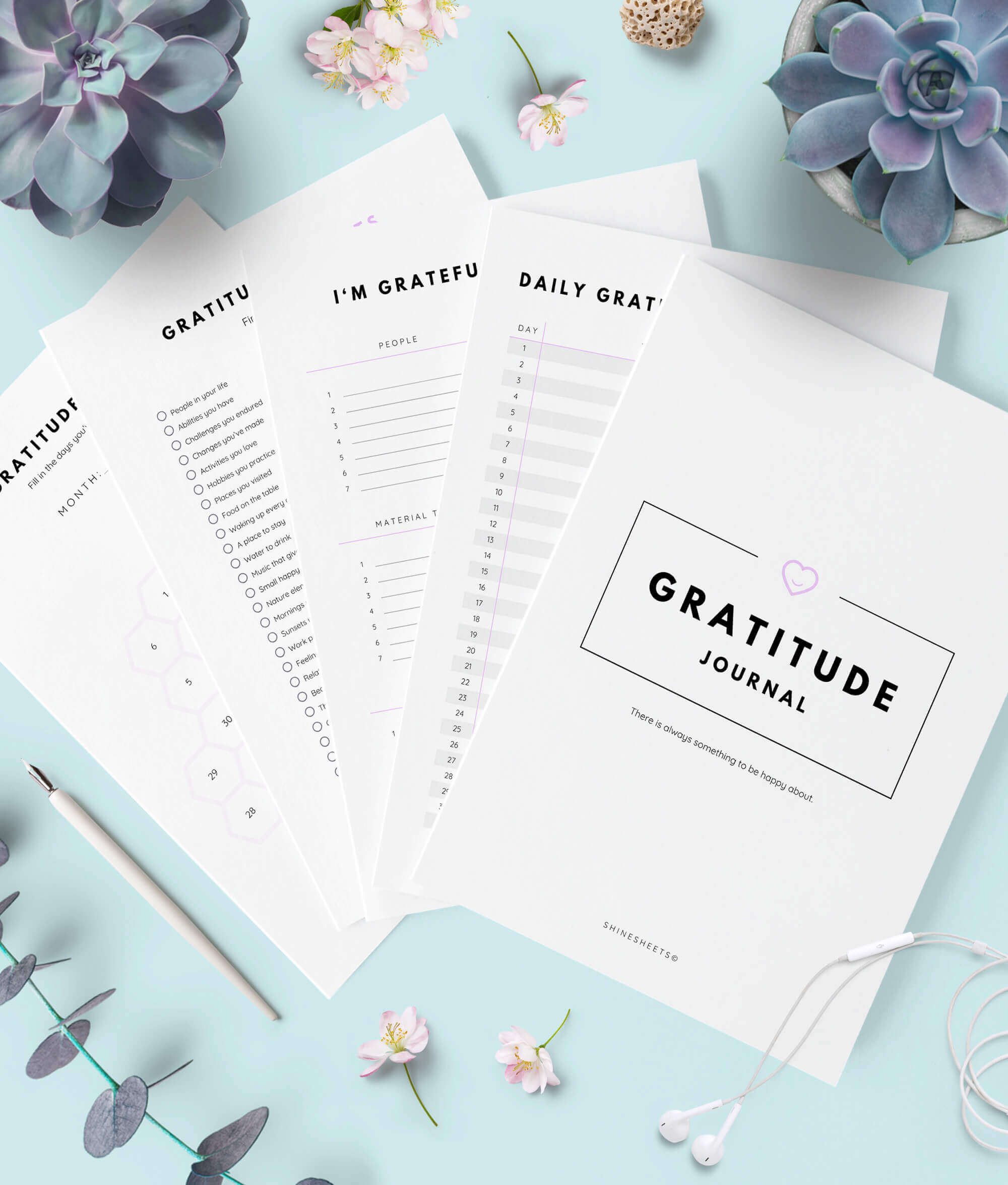 Gratitude Journal Printable 10 Pages