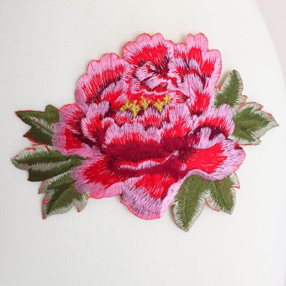 Embroidered Peony Flower  Iron On    Shine Trim Embroidered Peony Flower  Iron On