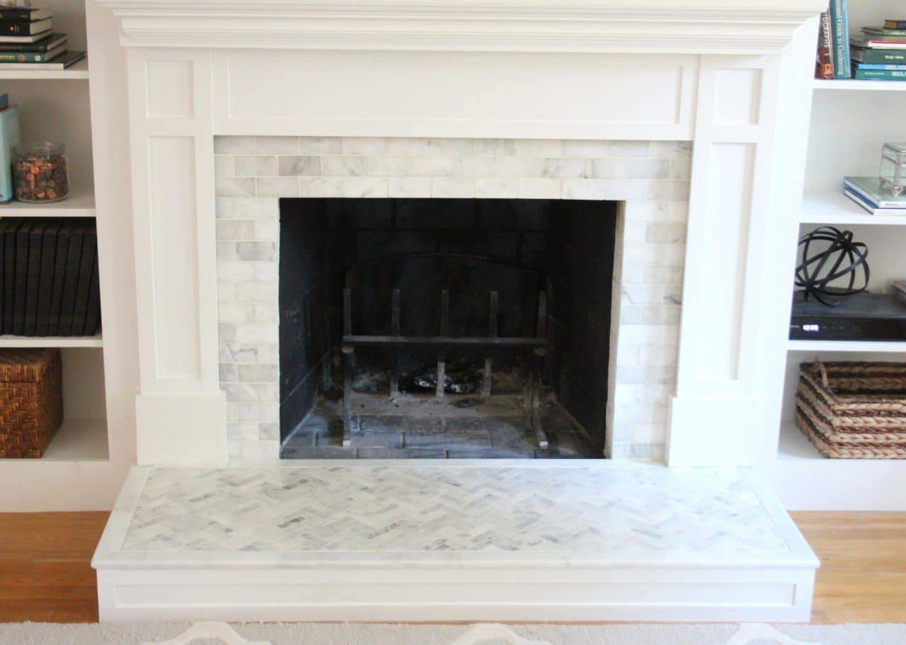 to tile over a brick fireplace surround