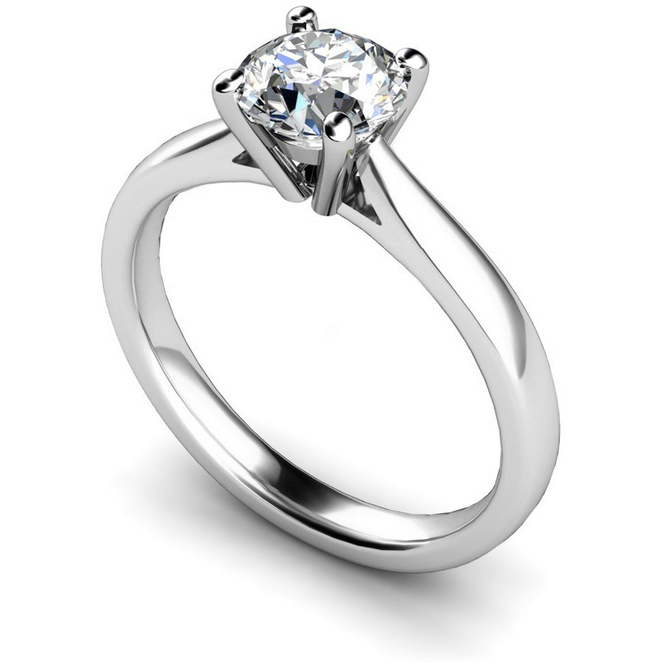 HRR354 4 Prong Round Cut Solitaire Diamond Ring Shining