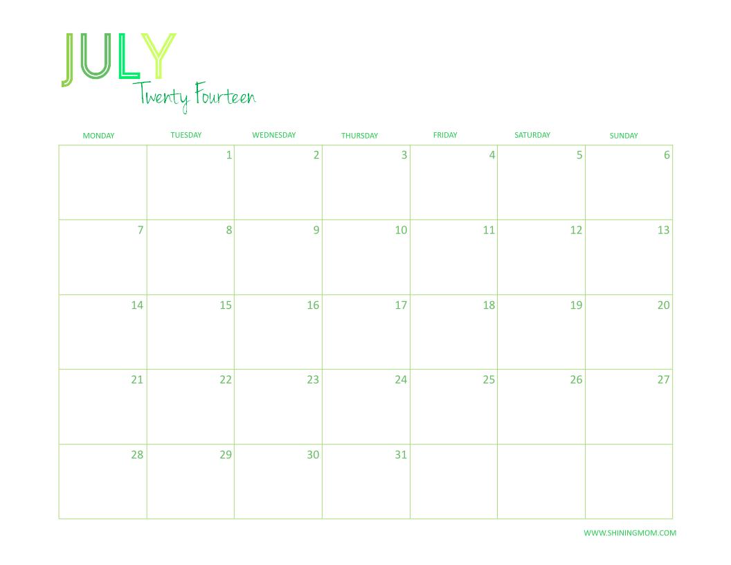 July 2014: FREE PRINTABLE 2014 DESKTOP CALENDAR