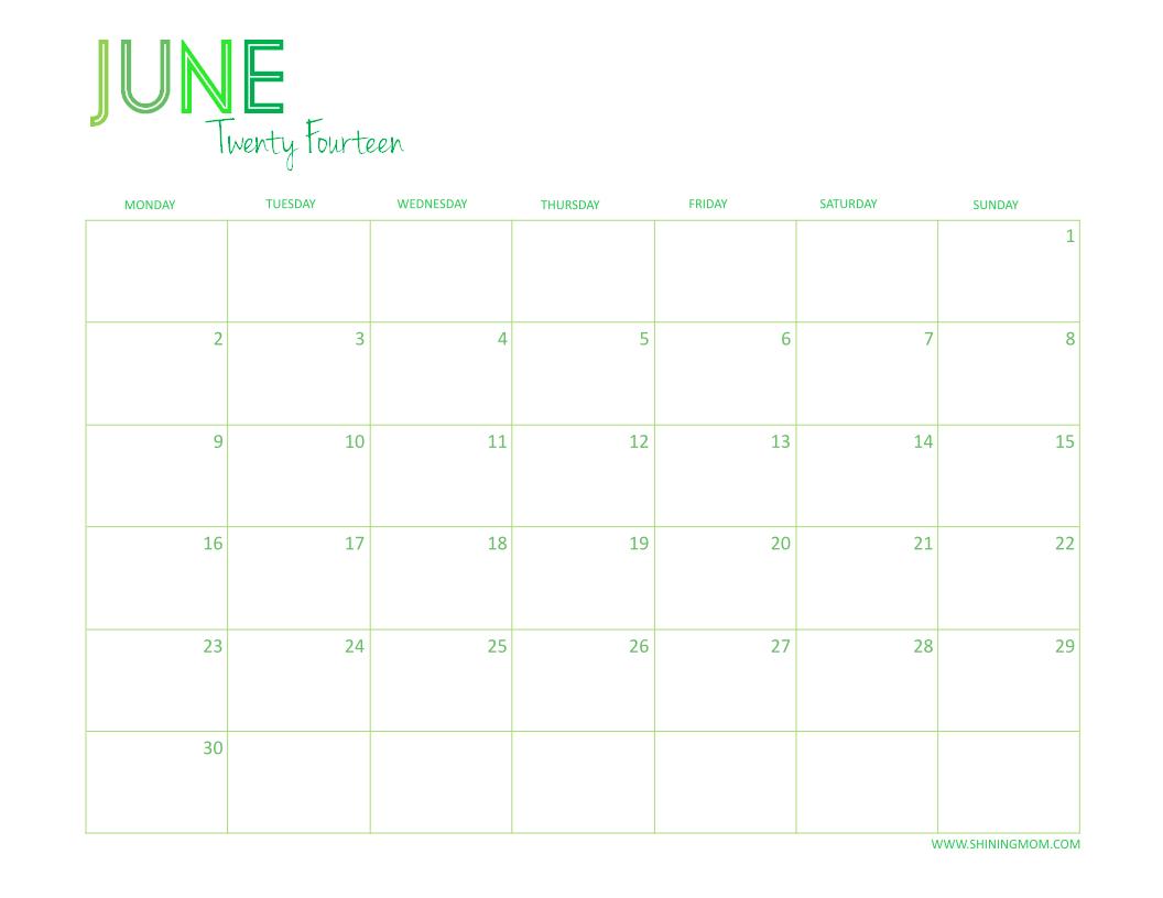Calendar June 2014 : Free printable desktop calendar