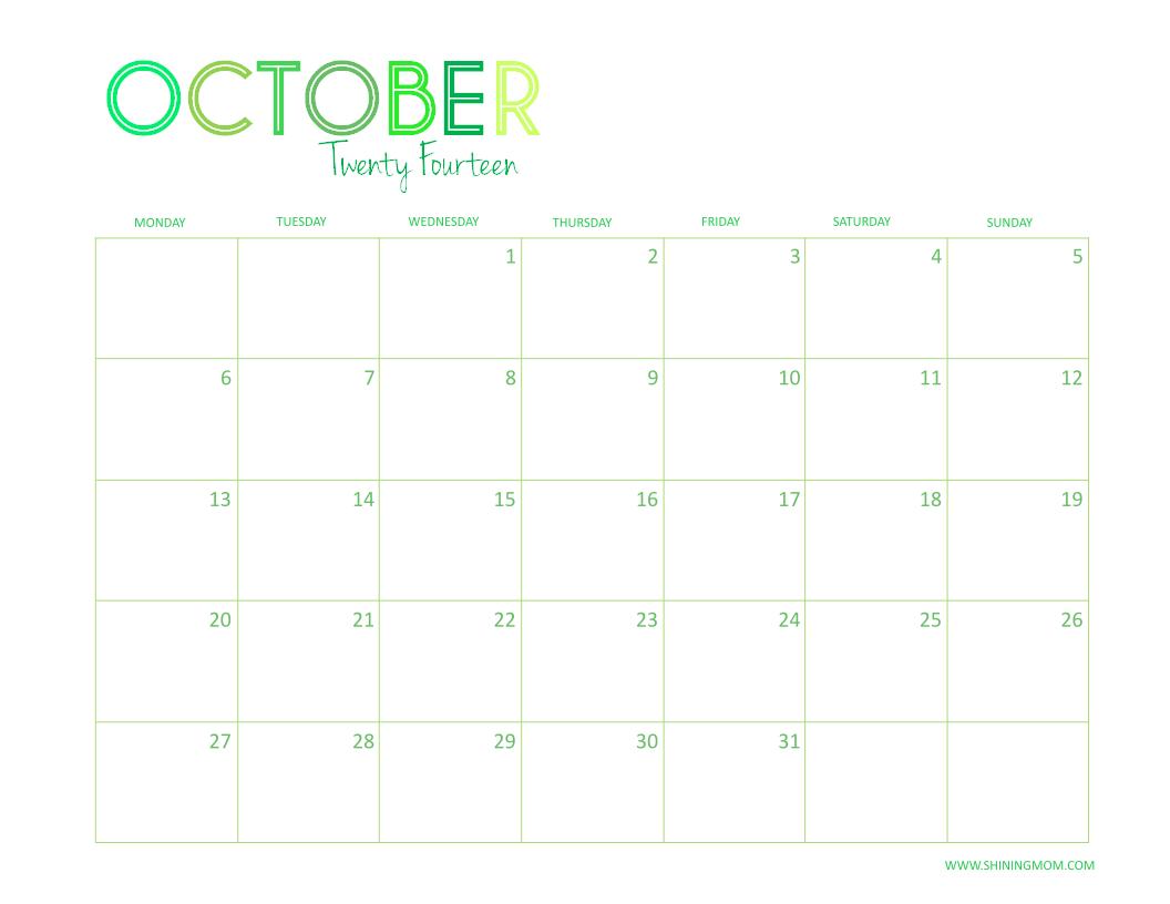 OCTOBER 2014 DESKTOP CALENDAR