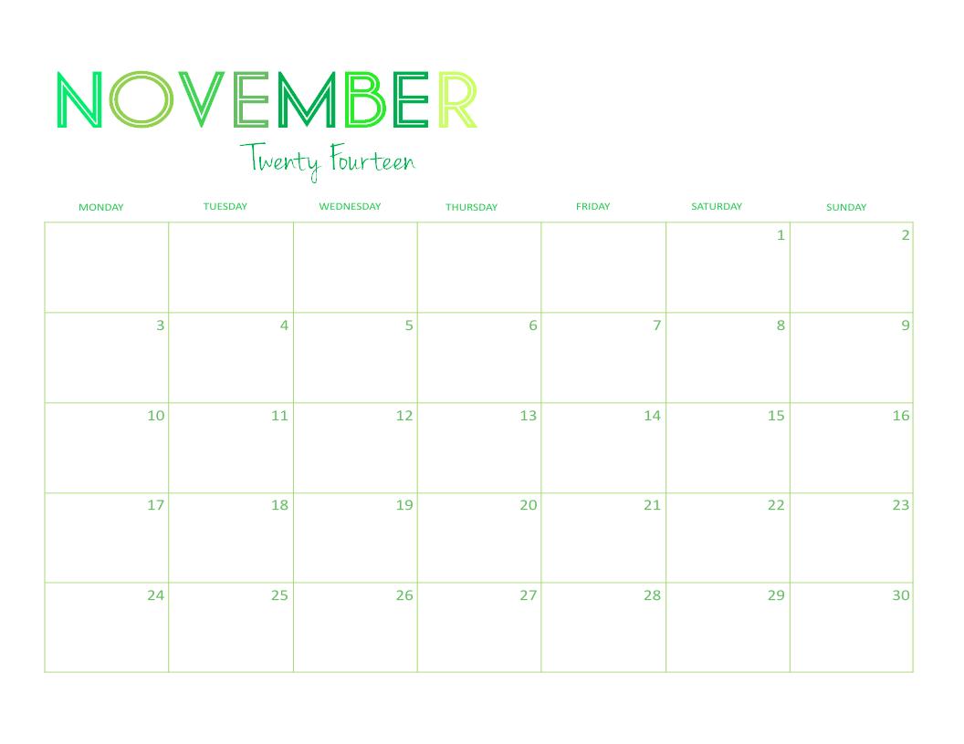 November Calendar 2014 : Free printable desktop calendar