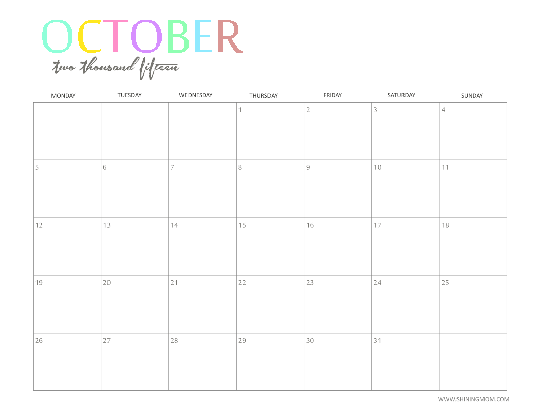 october 2015 printable sedktop calendar
