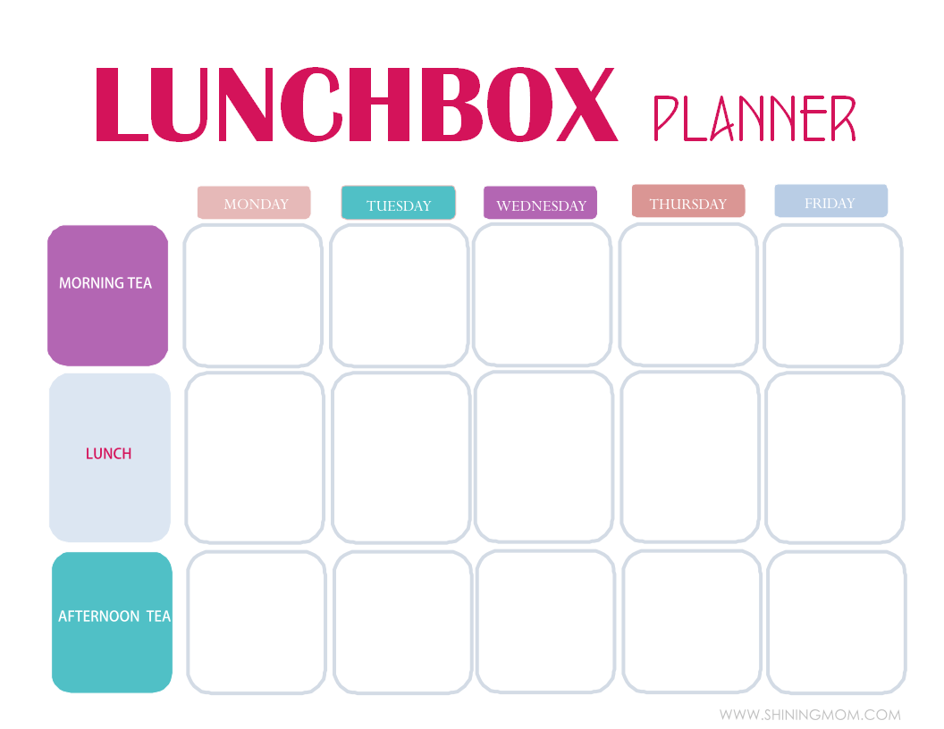 Free Printable: Easy 5-day Lunchbox Planner