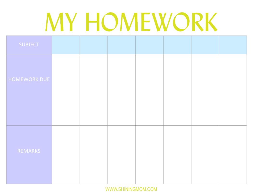 Homework Printable Planner