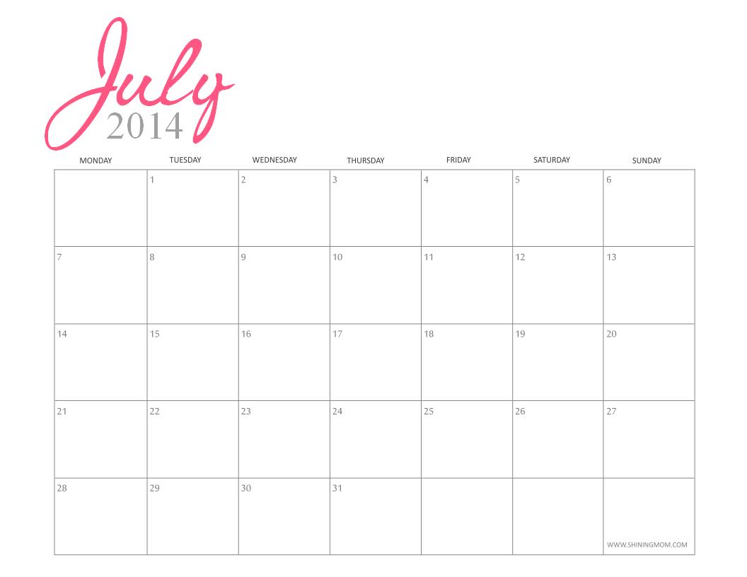 Calendar Girly : Printable july calendars
