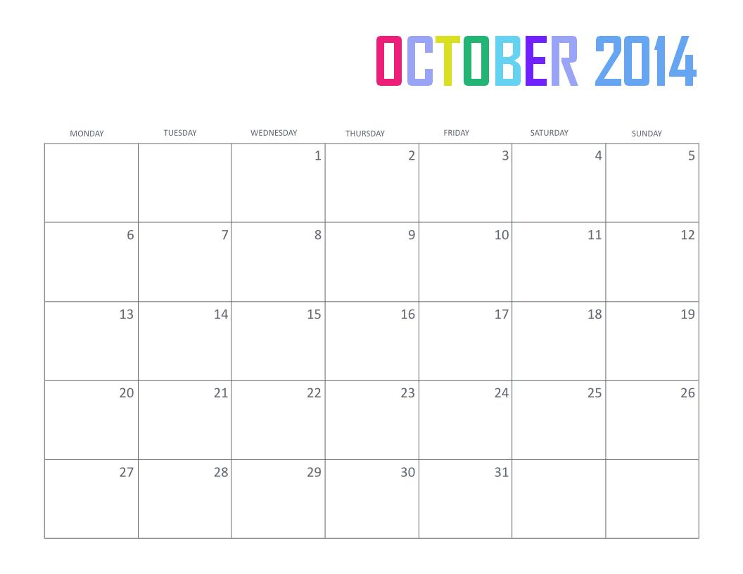 Calendar Monthly October : Free printable october calendar