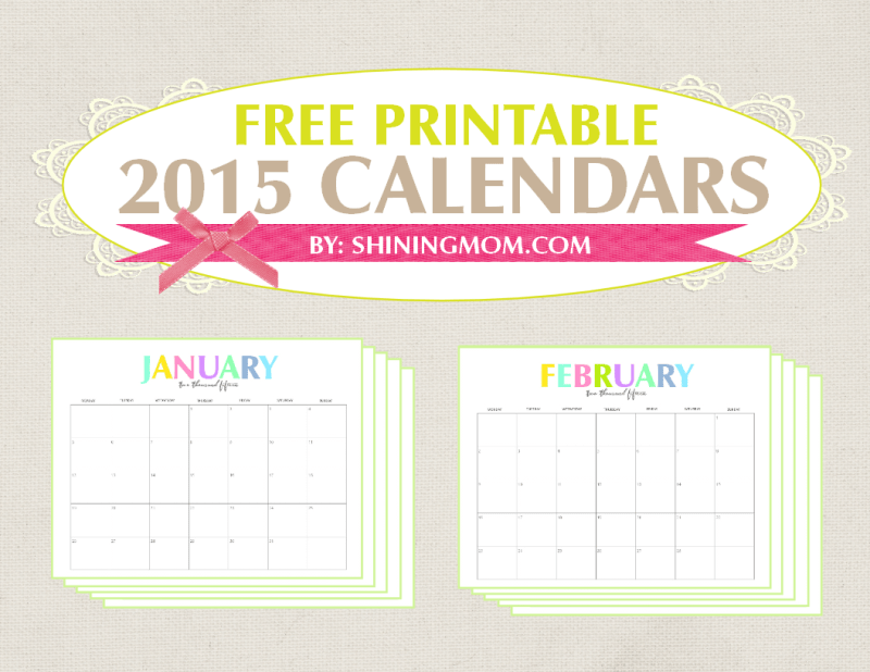 free monthly calendars 2015