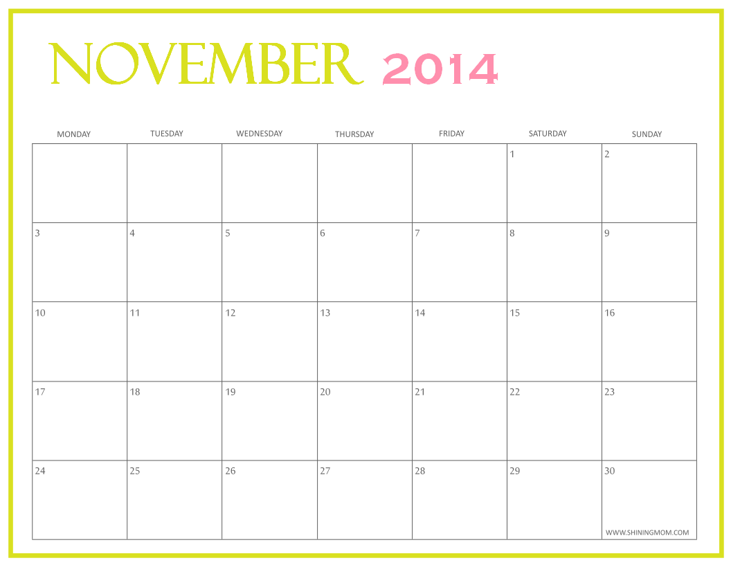 Free printable november 2014 calendars by shining mom for Fillable calendar template 2014