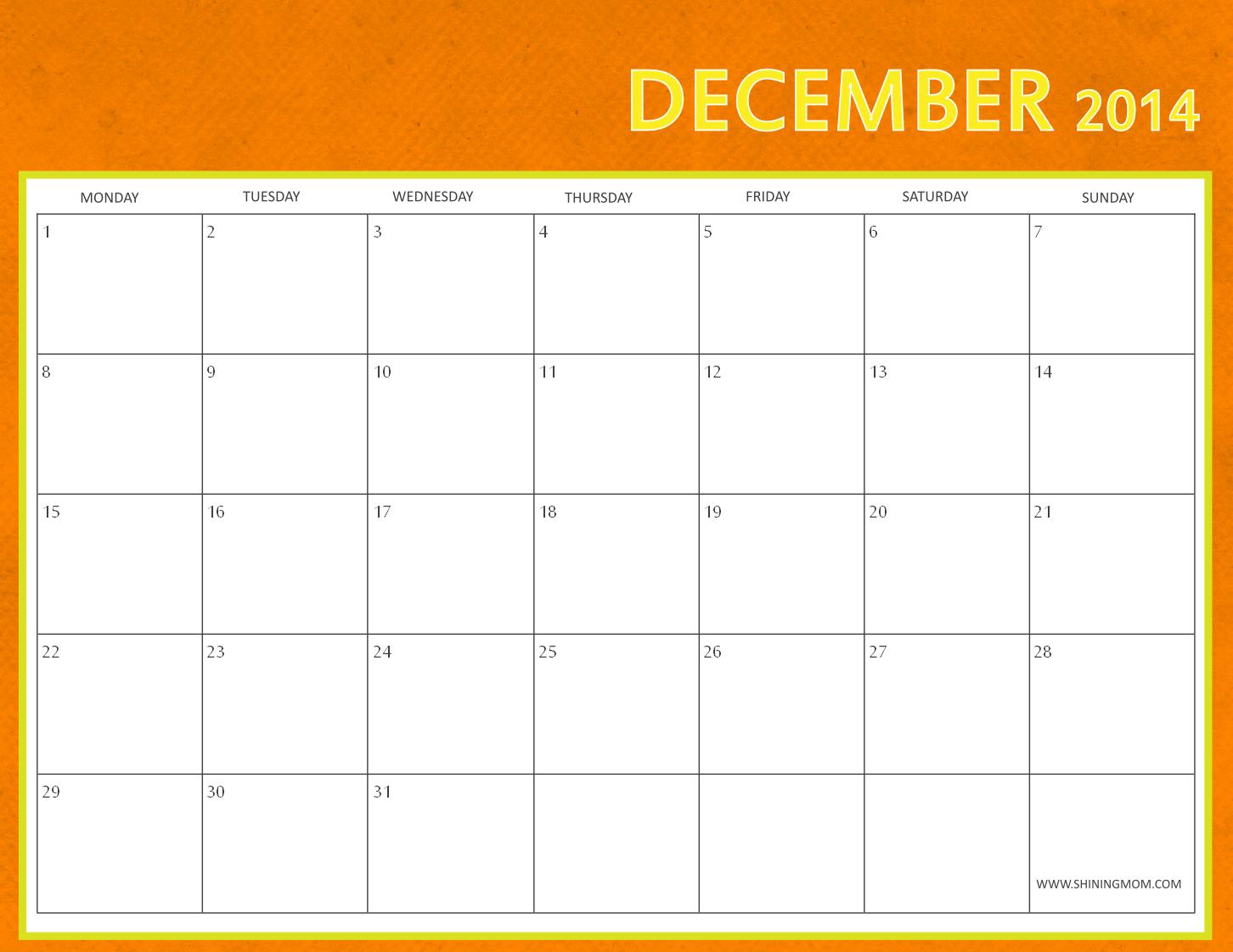 Free Printable December Calendar By Shining Mom