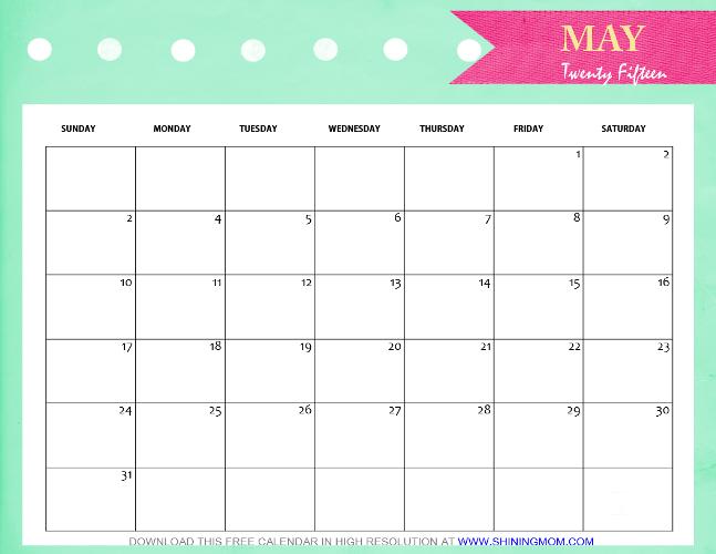 Calendar May 2015 : Refreshing designs free printable may calendars