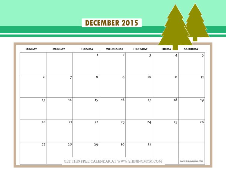 december 2015 calendar printable