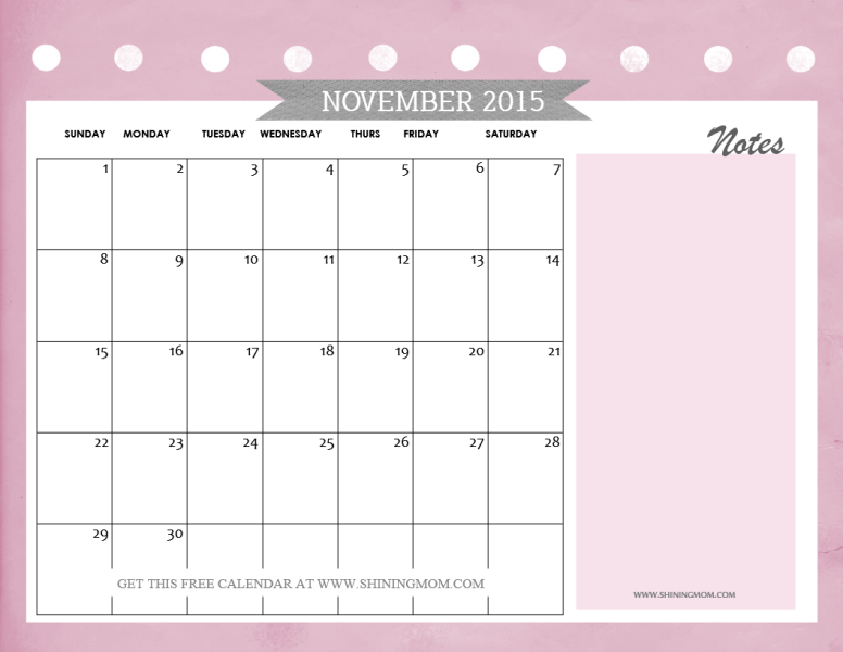 Calendar Template With Notes
