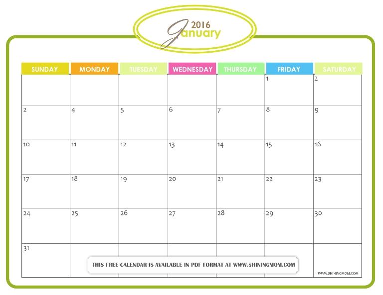 blank january 2016 calendar pdf