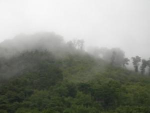朝もやの中の信夫山(2008-07-26 撮影)