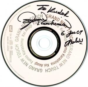 辛島文雄さんからこの日いただいたサイン。ケイ赤城さんとのデュオ・アルバム。下半分が空いているのは、ケイさんにサインをもらってね、ということでしょうか。