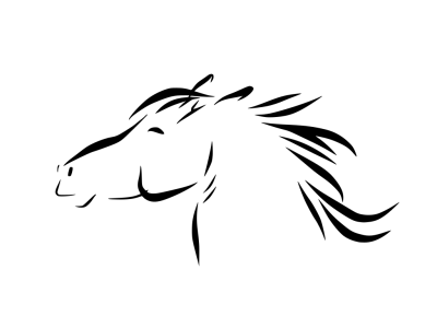A black on white simple stylized sketch of a pony's head